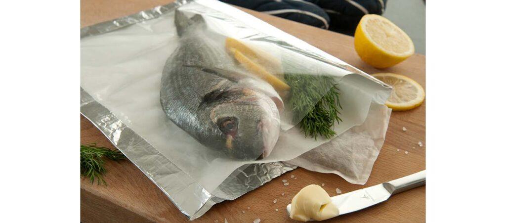 Túi ép 3 biên một mặt bạc một mặt trong đựng cá